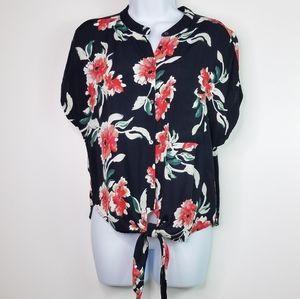 Vici floral button down tie front top